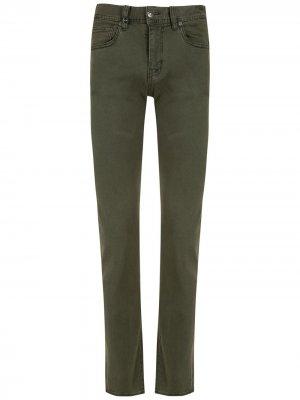 Зауженные джинсы с пятью карманами Armani Exchange. Цвет: зеленый