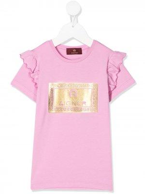 Metallic logo T-shirt Aigner Kids. Цвет: розовый