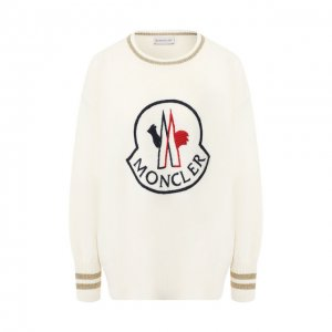 Пуловер из смеси шерсти и кашемира Moncler. Цвет: белый