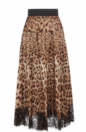 Шелковая юбка-миди с леопардовым принтом Dolce & Gabbana. Цвет: леопардовый
