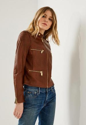 Куртка кожаная Michael Kors MI048EWZLF70. Цвет: коричневый