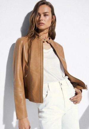 Куртка кожаная Massimo Dutti. Цвет: коричневый