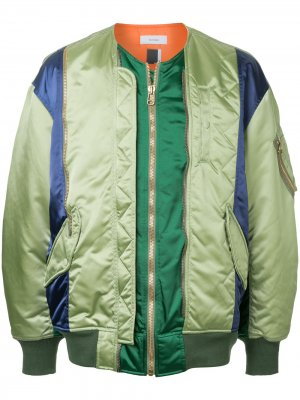 Куртка-бомбер с панельным дизайном Facetasm. Цвет: зеленый