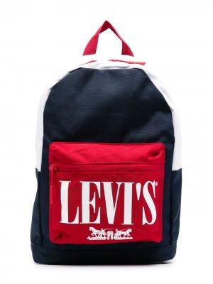 Levis Kids рюкзак с логотипом в стиле колор-блок Levi's. Цвет: синий