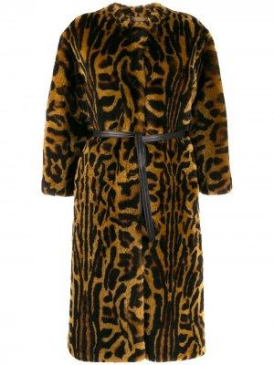 Шуба из искусственного меха с леопардовым принтом Givenchy. Цвет: коричневый