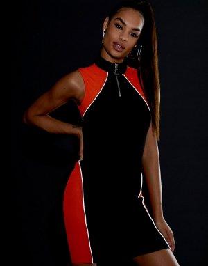Спортивное платье мини в рубчик со светоотражающей отделкой -Черный ASOS DESIGN