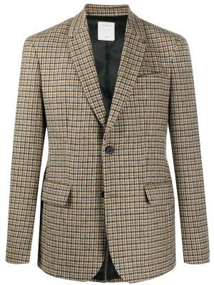 Пиджак в ломаную клетку Sandro Paris. Цвет: коричневый