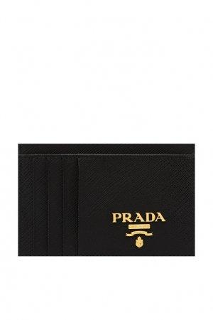 Черная визитница из сафьяновой кожи Prada. Цвет: черный