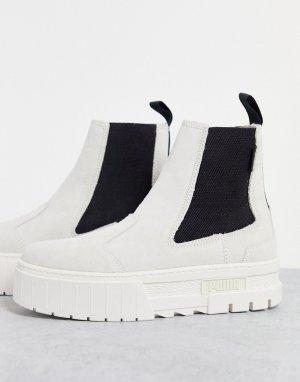 Светлые ботинки челси на платформе Mayze-Белый Puma