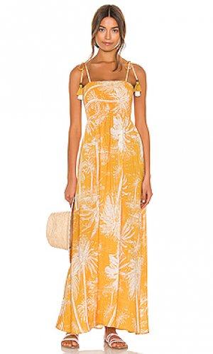 Макси платье Maaji. Цвет: желтый