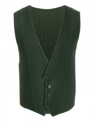 Плиссированный жилет на пуговицах Homme Plissé Issey Miyake. Цвет: зеленый