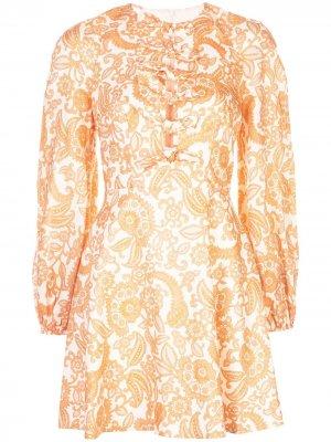 Короткое платье Peggy Zimmermann. Цвет: белый
