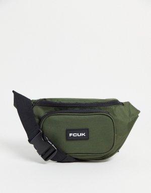 Сумка-кошелек на пояс цвета хаки с белым -Зеленый цвет French Connection