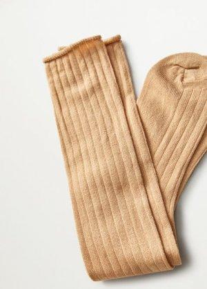 Носки из шерсти в рубчик - Soft Mango. Цвет: коричневый средний