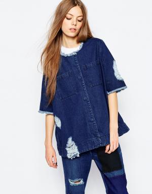 Джинсовая oversize-куртка с необработанным краем и потертостями Waven. Цвет: синий
