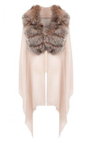 Кашемировая шаль с мехом лисицы Vintage Shades. Цвет: светло-розовый