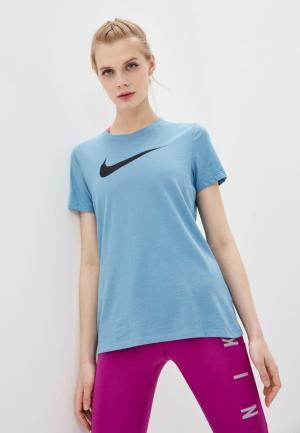 Футболка Nike W NK DF TEE DFC CREW. Цвет: голубой
