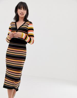 Комбинируемая облегающая юбка миди в рубчик с полосками -Мульти ASOS DESIGN