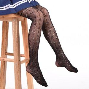 Колготки в сеточку с вырезом для девочек SHEIN. Цвет: чёрный