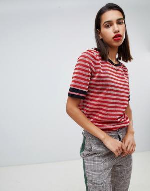 Блестящая футболка в полоску Sofie Schnoor. Цвет: розовый