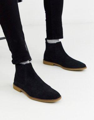 Черные замшевые ботинки челси -Черный Burton Menswear
