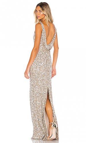 Вечернее платье nicolette Parker Black. Цвет: металлический серебряный