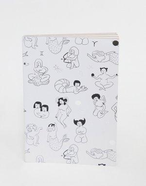 Черно-белый блокнот с принтом девушек -Многоцветный Monki
