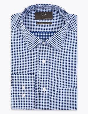 Рубашка в клетку Non Iron с длинным рукавом M&S Collection. Цвет: морской микс