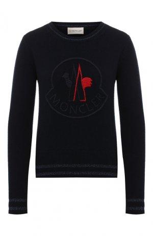 Пуловер из смеси шерсти и кашемира Moncler. Цвет: темно-синий