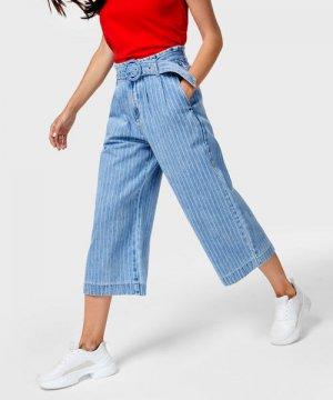 Широкие джинсы с поясом O`Stin. Цвет: голубой