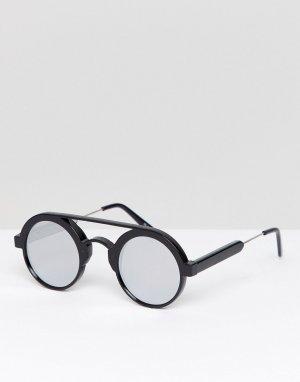 Круглые солнцезащитные очки в черной оправе с зеркальными стеклами -Черный Spitfire