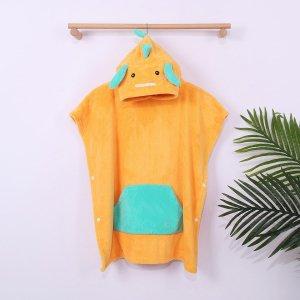 Детский банный халат в мультипликационной форме SHEIN. Цвет: оранжевый