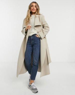 Светло-бежевое приталенное пальто с большим воротником -Коричневый ASOS DESIGN