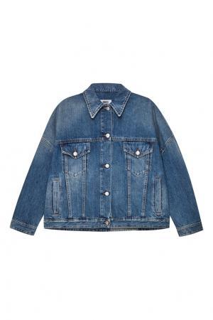 Джинсовая куртка oversize с потертостями MM6 Maison Margiela. Цвет: синий
