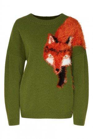 Зеленый пуловер с лисой Akhmadullina DREAMS. Цвет: зеленый