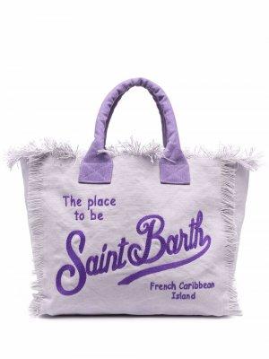 Пляжная сумка с вышитым логотипом Mc2 Saint Barth. Цвет: фиолетовый