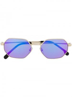 Солнцезащитные очки в шестиугольной оправе Versace Eyewear. Цвет: золотистый