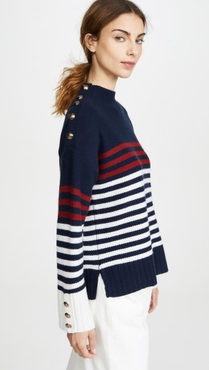 Breton Stripe Mock Neck Autumn Cashmere