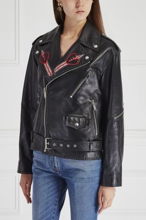 Кожаная куртка с аппликацией Valentino. Цвет: черный