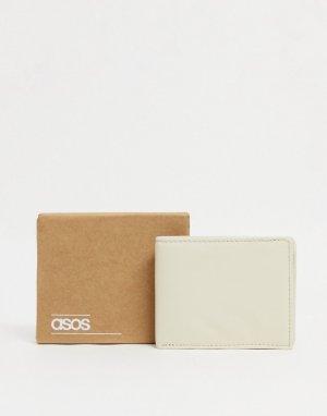 Светло-бежевый кожаный кошелек двойного сложения -Нейтральный ASOS DESIGN