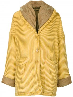 Фактурное оверсайз-пальто Romeo Gigli Pre-Owned. Цвет: желтый