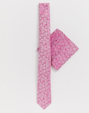 Розовый галстук и платок для пиджака с цветочным принтом Moss London BROS. Цвет: розовый