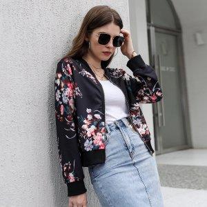 Куртка бомбер на молнии с цветочным принтом SHEIN. Цвет: чёрный
