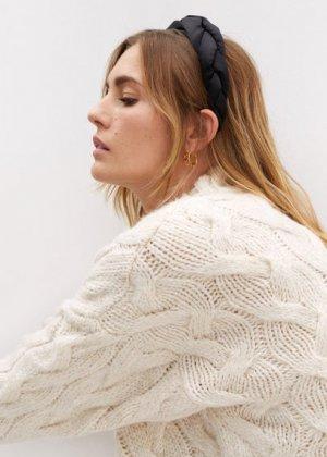 Обтянутый плетеный ободок - Ashley Mango. Цвет: черный