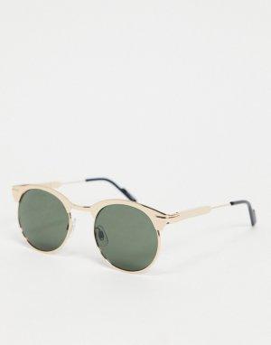 Круглые солнцезащитные очки в золотистой оправе стиле унисекс Peak 80-Золотистый Spitfire