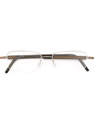 Оптические очки в прямоугольной оправе Lindberg. Цвет: коричневый