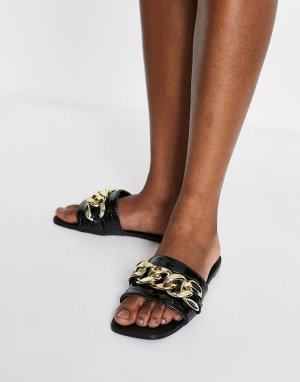 Черные мюли из искусственной крокодиловой кожи с отделкой в виде цепочки Simmi London Tashina-Черный цвет Shoes