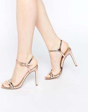 Босоножки на каблуке ASOS HAPHAZARD DESIGN. Цвет: бежевый