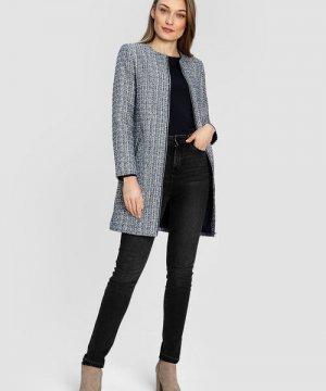 Пальто из твидовой ткани O`Stin. Цвет: темно-синий