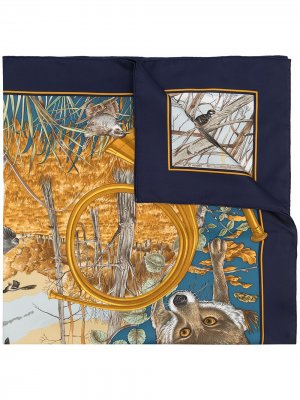 Платок Chasse Au Bois 1990-х годов Hermès. Цвет: разноцветный
